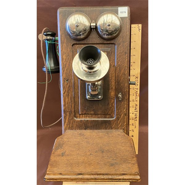 ANTIQUE WALL MOUNT TELEPHONE - NE MGT CO - NICKLE FINISH PICTURE FRAME STYLE - 1910