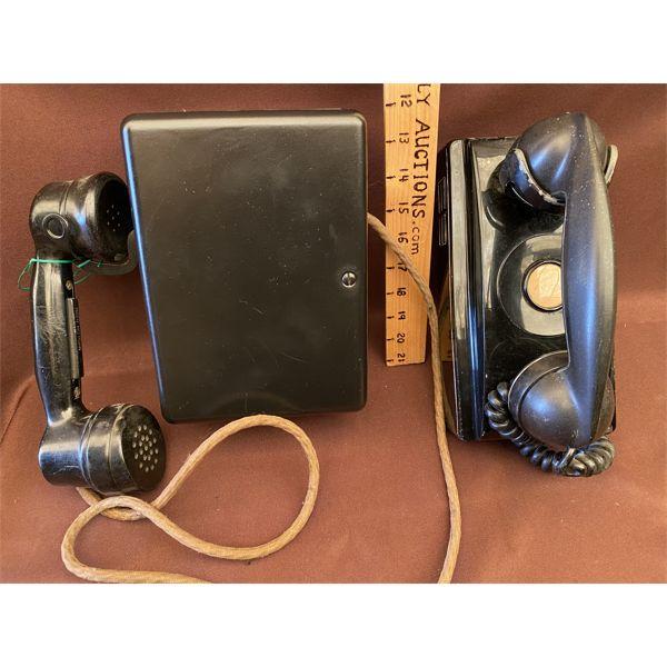 LOT OF 2 - ANTIQUE BAKELITE NE WALL MOUNT PHONES - MODEL 354 - 1949