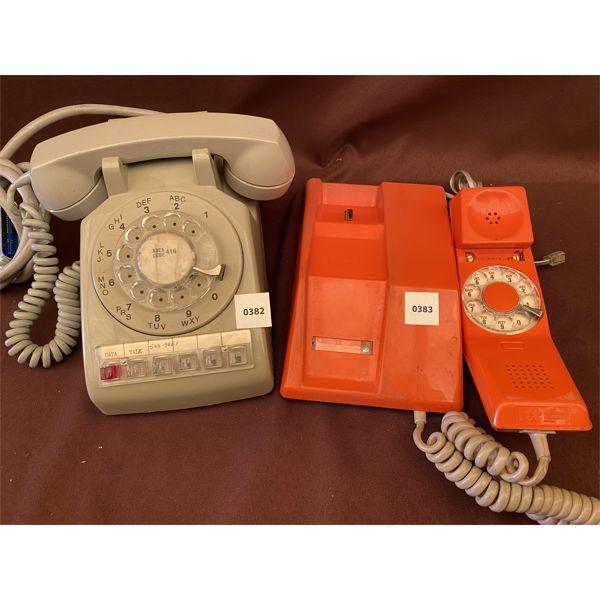 LOT OF 2 - VINTAGE PHONES - ROTARY DESK TOP STYLES