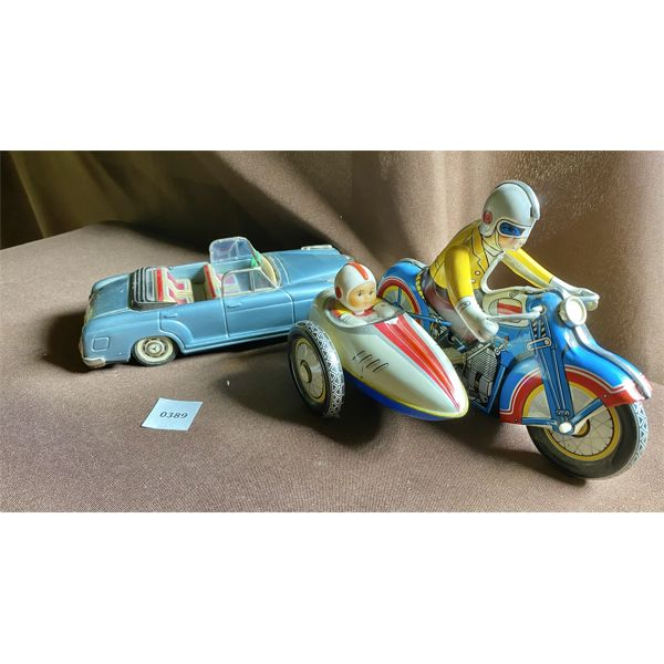 LOT OF 2 - ANTIQUE TIN TOYS - WINDUP MOTORCYCLE & MERCEDES BENZ