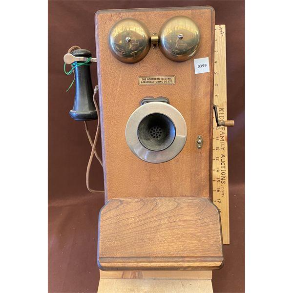 ANTIQUE WOOD WALL PHONE - NE MGT CO - 1910