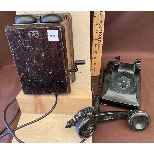 ANTIQUE BAKELITE PHONE - NE 300 STYLE & CALL BOX