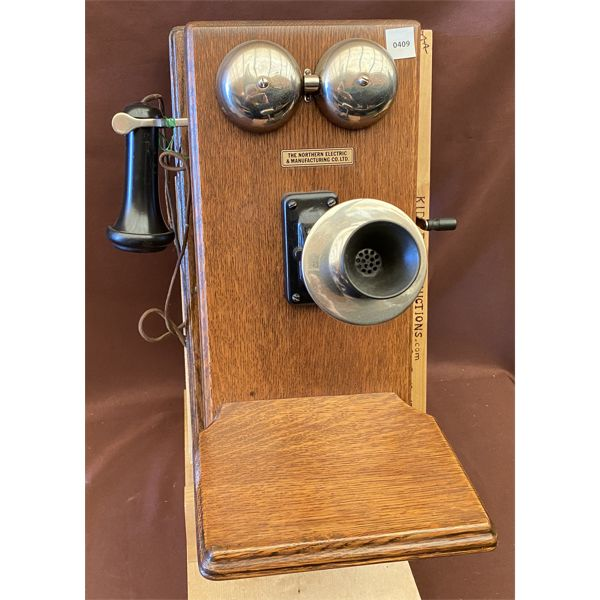 ANTIQUE WOODEN WALL PHONE - NORTHERN MGT CO - 1910