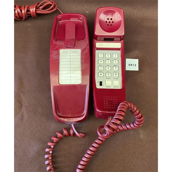 VINTAGE RED PUSH BUTTON DESK PHONE