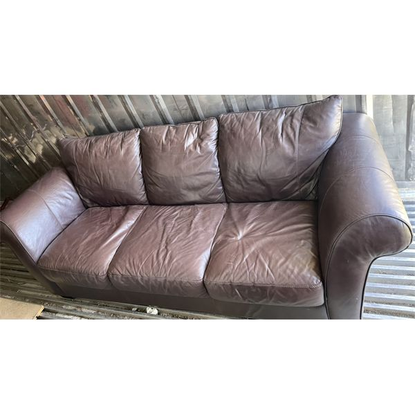 DARK BROWN 3 SEATER LEATHER SOFA
