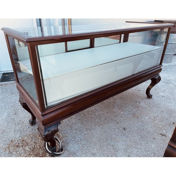 "ANTIQUE CLAW FOOT STORE DISPLAY CASE - 27"" D X 43"" H X 72"" L"