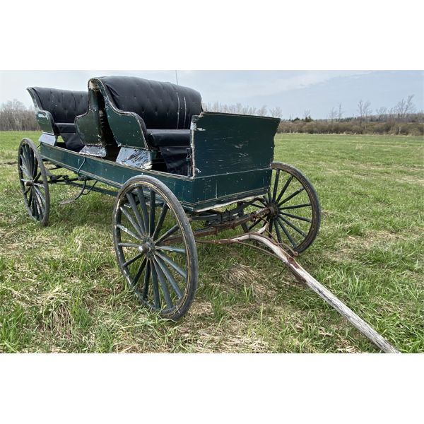 ANTIQUE 3 SEATER HORSE DRAWN BUGGY