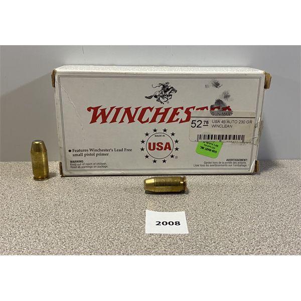 AMMO: 50X WINCHESTER 45 ACP 230GR BEB