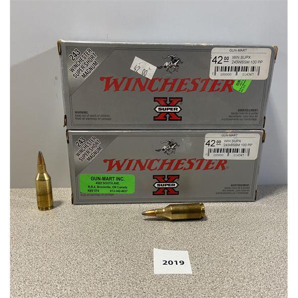 AMMO: 40X WINCHESTER 243 WSSM 100GR PP