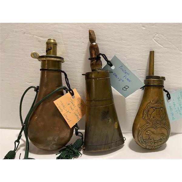 "JAMES DIXON & SONS 8"" COPPER FLASK & 7"" DOG / BIRD MOTIF FLASK & 8"" POWDER FLASK"