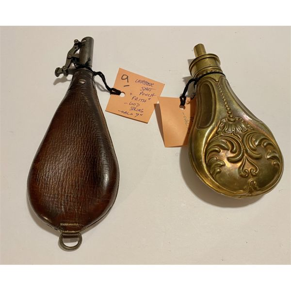 "9"" LEATHER SHOT POUCH & BRASS FLASK"