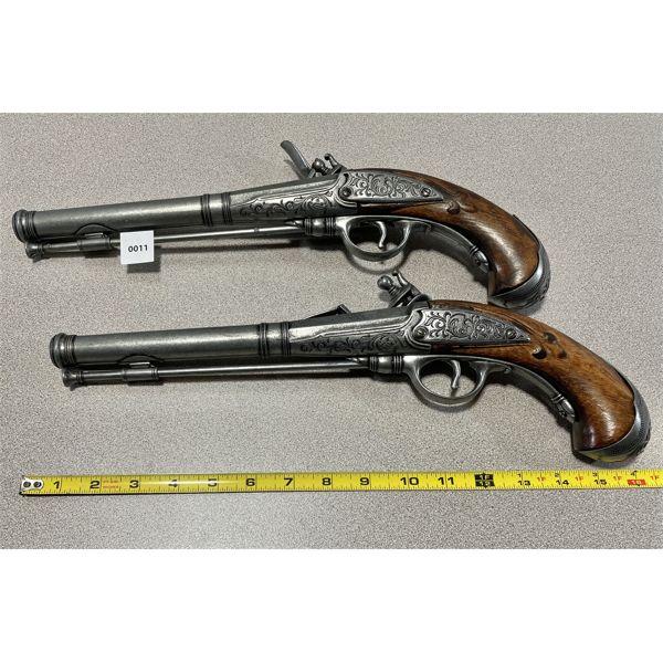 LOT OF 2 - DECORATIVE  FLINTLOCK GUNS - MATCH SET