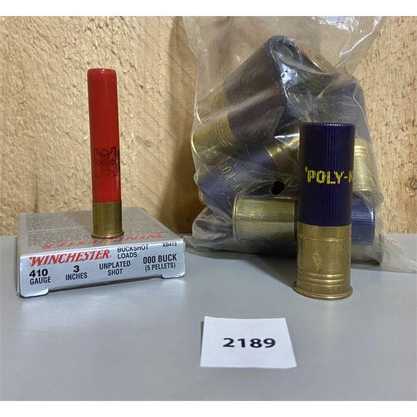 """AMMO: 11X 12 GA 2 3/4"""" SLUGS & 410 GA 3"""" 000 BUCK"""