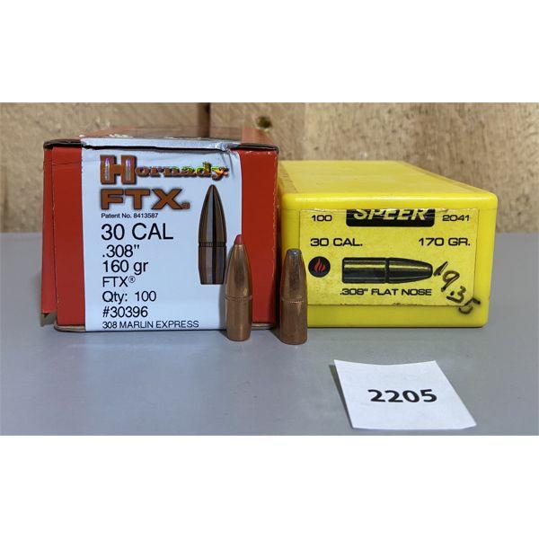 BULLETS: 200X 30 CAL 160 & 170 GR