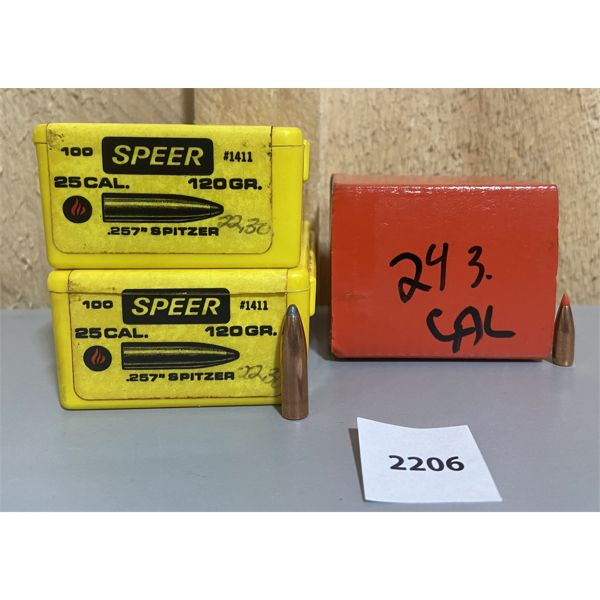 BULLETS: APPROX 230X 25 CAL (243 & 257)