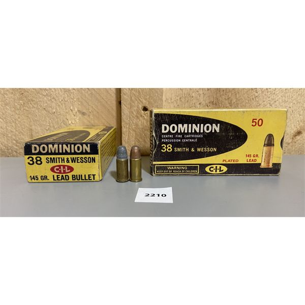 AMMO: 100X CIL 38 S&W 145GR LEAD & PLATED