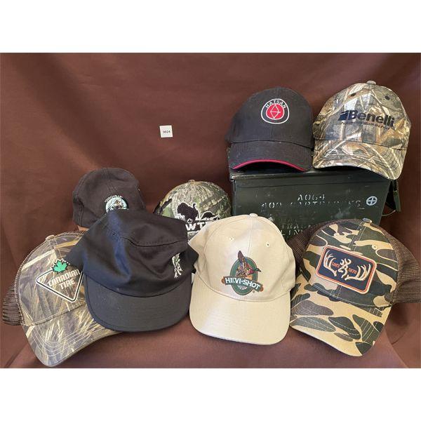 LOT OF 8 HATS, STEEL AMMO BOX