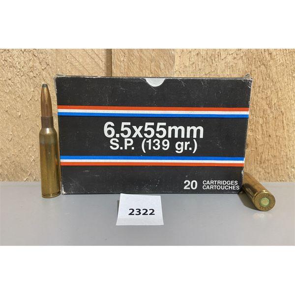 AMMO: 20X 6.5X55MM SWEDE 139GR SP