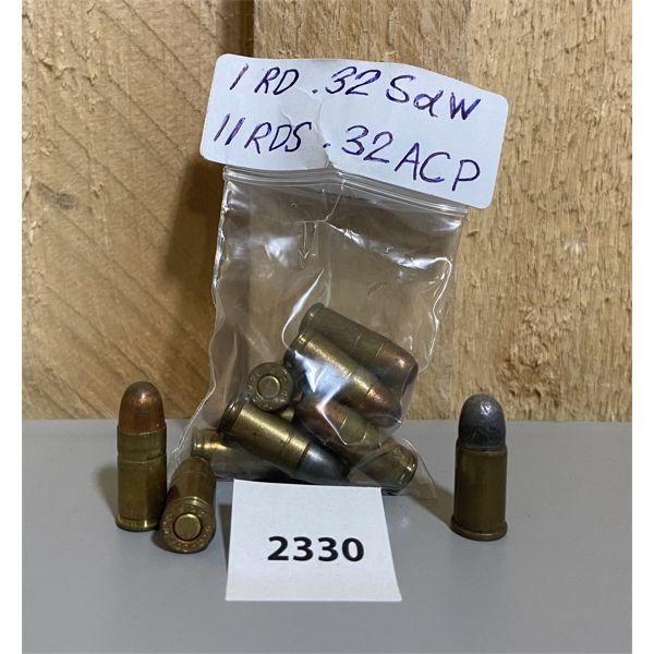 AMMO: 11X 32 ACP & 1X 32 S&W