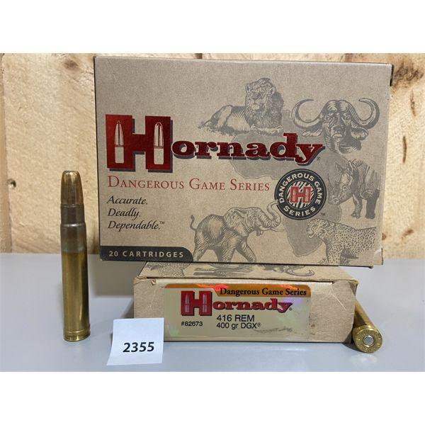 AMMO: 40X HORNADY 416 REM MAG 400GR DGX