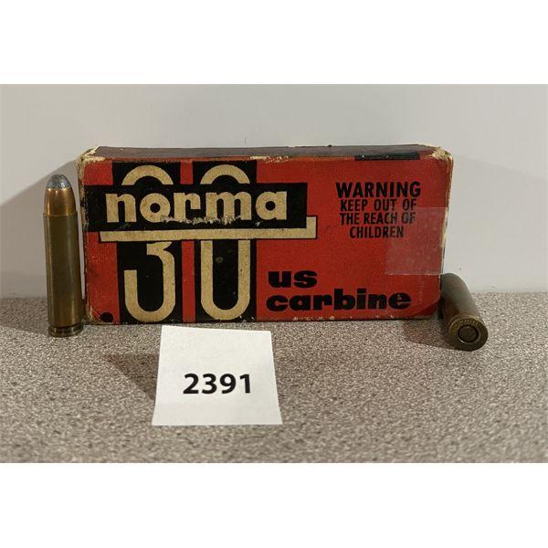 AMMO: 20X NORMA 30 US M1 CARBINE 110GR RNSP