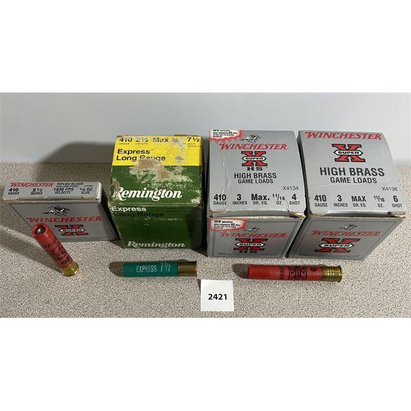 """AMMO: 75X 410 GA- 45X 3"""" & 5X SLUGS & 25X 2 1/2"""""""