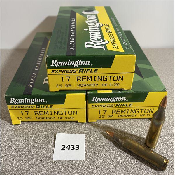 AMMO: 60X REMINGTON 17 REM 25GR HP