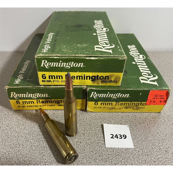 AMMO: 60X 6MM REM 80GR