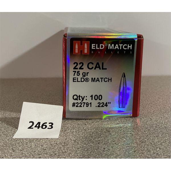 "BULLETS: 100X HORNADY 22 CAL (.224"" DIA) 75GR ELD MATCH"