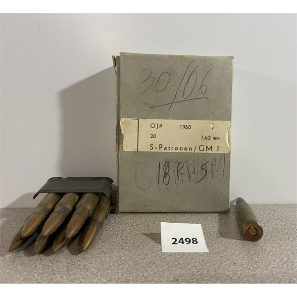 AMMO: 25X 30-06 SPRG- 7X ON M1 GARANG CLIP & 18X GERMAN MADE