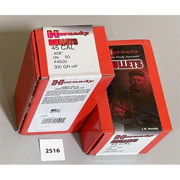 """BULLETS: 100X HORNADY 45 CAL 300GR HP .458"""" DIA"""