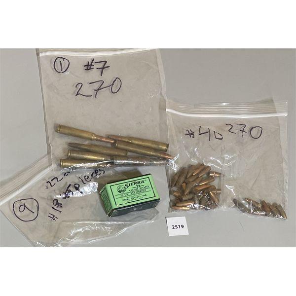 AMMO & BULLETS: 270 WIN, .270 CAL, 224 HORNET CAL