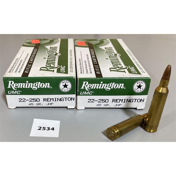 AMMO: 40X REMINGTON 22-250 REM 45GR JHP