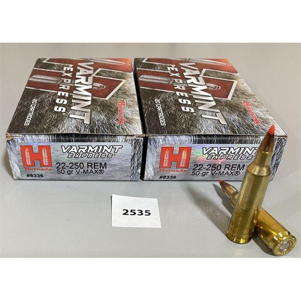 AMMO: 40X HORNADY 22-250 REM 50GR V-MAX