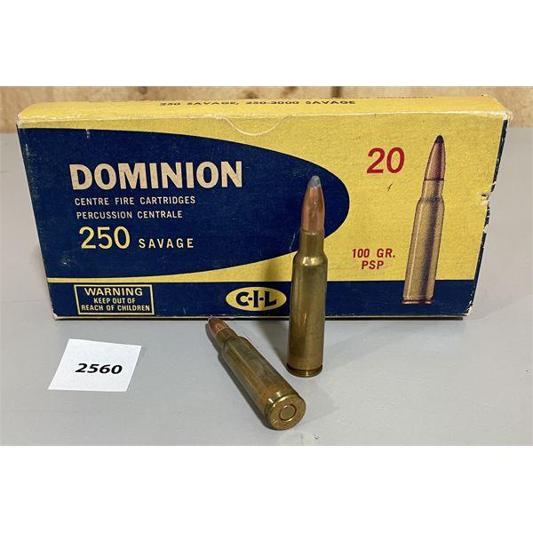AMMO: 20X CIL 250 SAVAGE 100GR