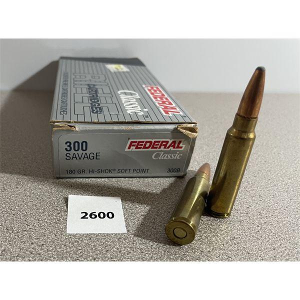 AMMO: 20X FEDERAL 300 SAVAGE 180GR