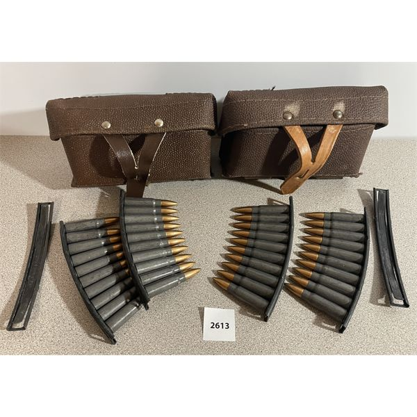 AMMO: 40X 7.62X39MM ON CLIPS & 2 POUCHES