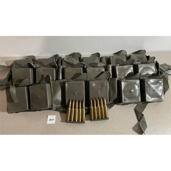 AMMO: 180X 7.62X51MM MILITARY BALL WITH CLIPS AND BANDOLIERS