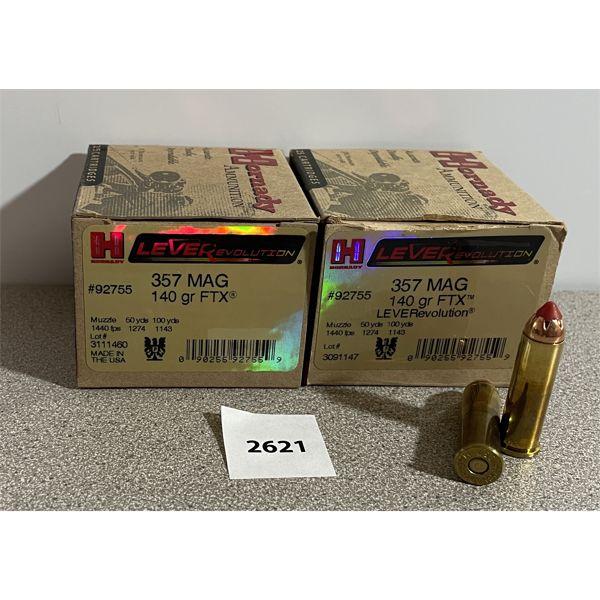 AMMO: 50X HORNADY 357 MAG 140GR FTX