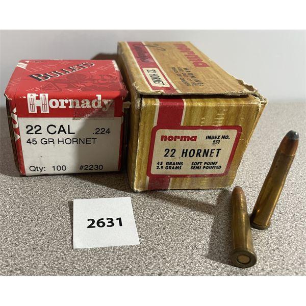"""AMMO & BULLETS: 47X 22 HORNET & 100X 22 CAL (.224"""" DIA) 45GR"""
