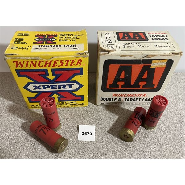 """AMMO: 50X WINCHESTER 12 GA 2 3/4"""" #7.5"""