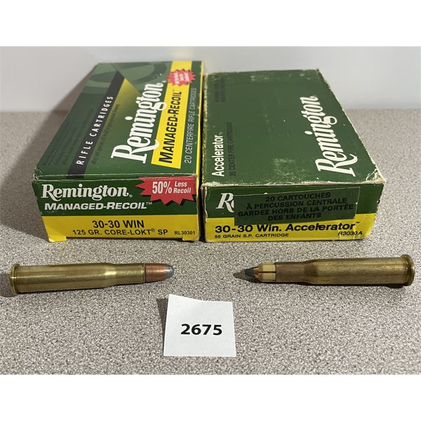 AMMO: 40X 30-30 WIN- INCLUDES ACCELERATOR & MANAGED RECOIL