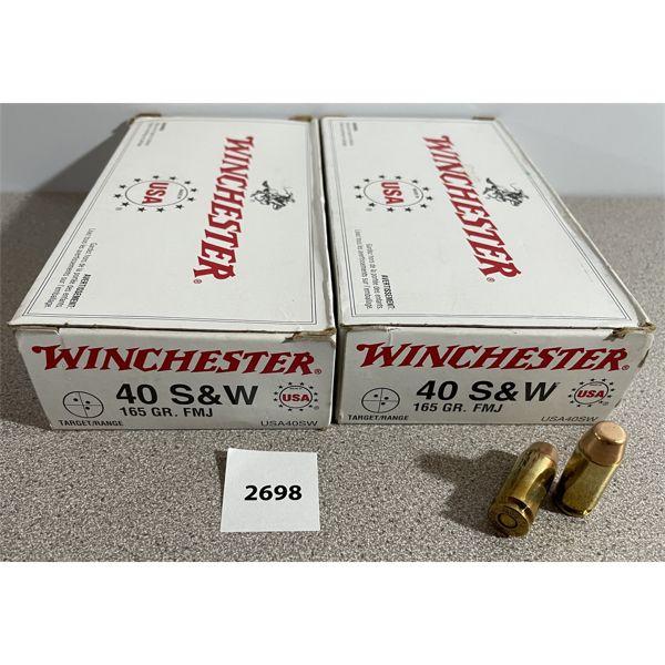 AMMO: 100X WINCHESTER 40 S&W 165GR FMJ