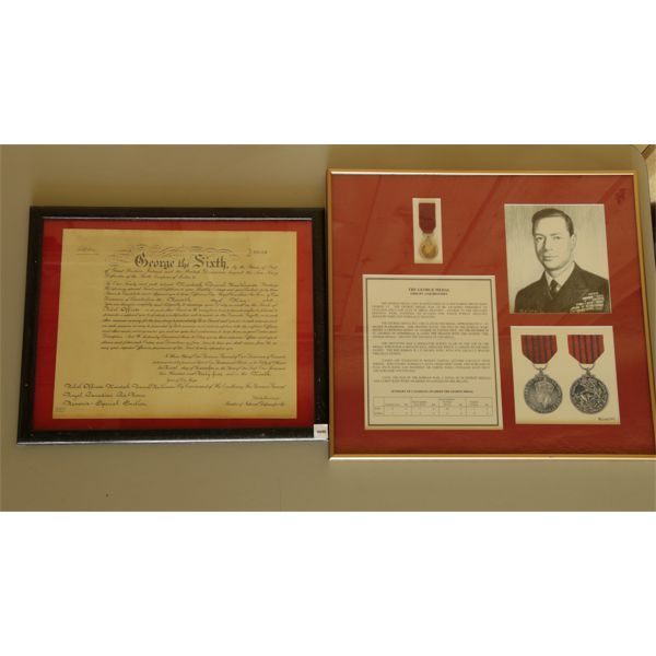 LOT OF 2 - COLLECTORS PRESENTATION FOR 'THE GEORGE MEDAL' AND 1949 FRAMED DISCHARGE CERT.