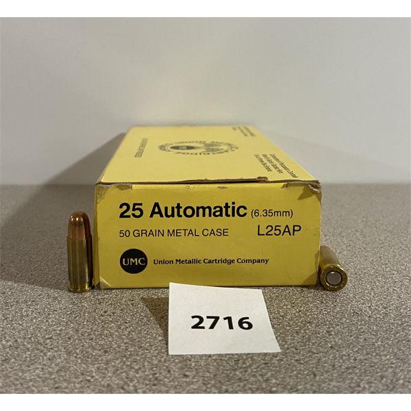 AMMO: 50X REMINGTON-UMC 25 AUTO (6.35MM) 50GR FMJ