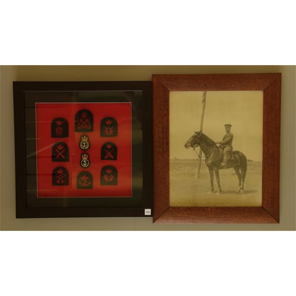 LOT OF 2 - MILITARY CREST DISPLAY & FRAMED MILITRAY PHOTO