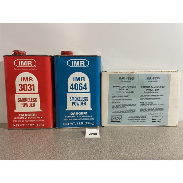 POWDER: 3 LBS IMR- INCLUDES 3031, 4064, 4895