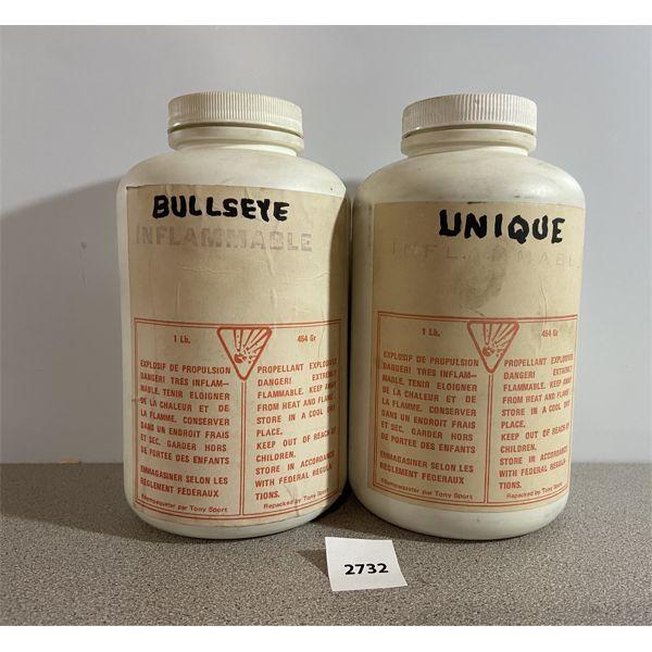POWDER: 1/2 LB BULLSEYE & 1 LB UNIQUE