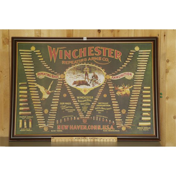 """WINCHESTER REPEATING ARMS CO. FRAMED AMMUNITION POSTER - 34 """" X 47"""""""