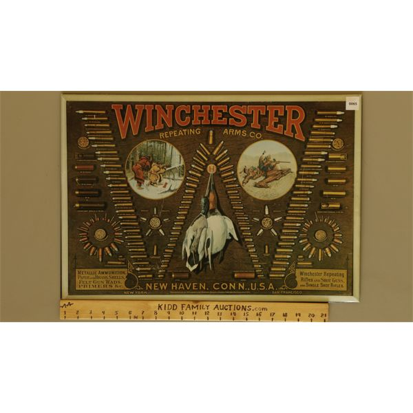 """WINCHESTER REPEATING ARMS CO. TIN AMMUNITION DISPLAY - 16"""" X 23"""""""